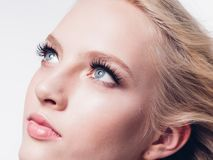 Eyelashes woman eyes face close up with beautiful long lashes is. Olated on white. Studio shot royalty free stock image