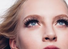 Eyelashes woman eyes face close up with beautiful long lashes is. Olated on white. Studio shot stock photos