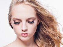 Eyelashes woman eyes face close up with beautiful long lashes is. Olated on white. Studio shot stock image