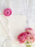 Decorative fabric with pink ranunculus and copy space Stock Photos