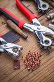 Eyelet fabric plier. Punch tool kit leather hole maker stock image