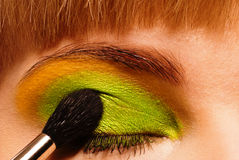 Eyelid being painted Royalty Free Stock Images