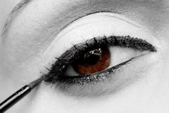 Eyeliner. A closeup of my eye using an eyeliner royalty free stock photography