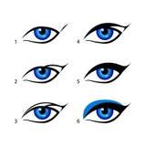 Eyeliner eingestellter geflügelter Eyeliner ist ein ganzes Los mit diesem Trick einfacher Seien Sie sinnvoll vom Make-up Lizenzfreies Stockfoto