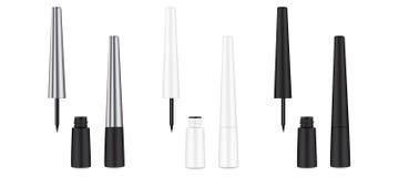 eyeliner Fl?ssige Zwischenlage 3d Kosmetikschablone Weibliches kosmetisches Rohr stock abbildung