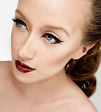 Eyeliner and red lips Stock Photo