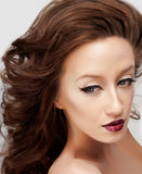 Eyeliner and red lips Royalty Free Stock Photography