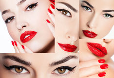 Eyeliner and red lips, beauty collage Stock Image