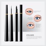 Eyeliner Verpakking met Soorten Oogmake-up Royalty-vrije Stock Foto