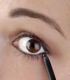 eyelinerblyertspenna genom att använda unga kvinnor Arkivfoton