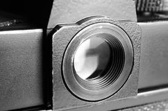 Eyepiece old film camera. Royalty Free Stock Images