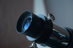 Eyepiece of telescope. Close up. Telescope detail royalty free stock images