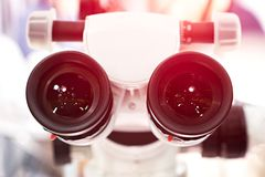 Eyepieces of the microscope. photo.