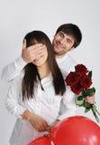 eyes детеныши женщины счастливого человека закрывая Стоковое фото RF