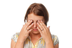 eyes утомлянная девушка Стоковые Фотографии RF