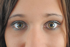 Eyes. Young woman with eyes wide open Stock Images