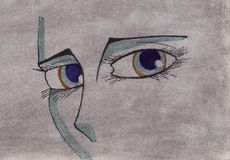 Eyes of woman on an artistic background. The sad eyes of a girl are represented in this illustration Royalty Free Stock Photos