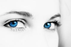 Eyes. Young woman beautiful blue eyes Royalty Free Stock Photo
