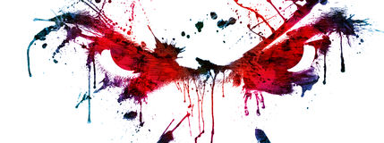 Eyes. Male eyes abstract scary look, ink splat Stock Photo