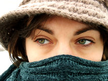 Eyes. A looking girl on the street whit beautiful eyes Royalty Free Stock Photography