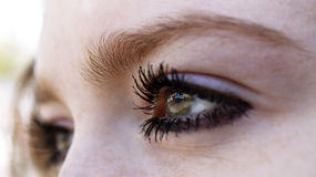 Eyes. Of young woman looks ahead Stock Photo