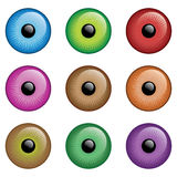 Eyes. 9 different color eye balls, ideal texture for 3d characters' eyes vector illustration