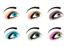 Eyes. Set of six beautiful eyes royalty free illustration