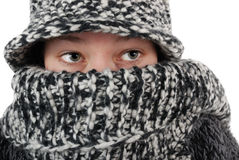 Eyes. Close up, girl in winter fashion Royalty Free Stock Photo