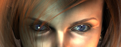 Eyes. Closeup of woman's face reveals circuit board eyes Stock Photography
