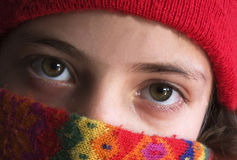 Eyes. Of a girl with a scarf and hat Royalty Free Stock Photography