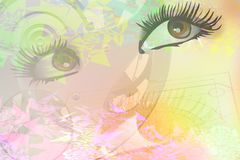 Eyes on abstract background. Abstract background with women's eyes Royalty Free Stock Photography