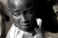 Eyes of a african sad child stock images