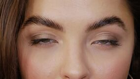 Free Eyes After Eyebrow Lamination Procedure Stock Photography - 176926902