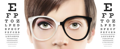 Free Eyes And Eyeglasses Close Up On Visual Test Chart, Eyesight And Royalty Free Stock Photo - 94445885