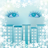 Eyes on the background  with snowflakes Royalty Free Stock Photos