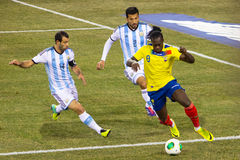 Eyes On The Ball. This image shows a pre-world cup friendly match between Argentina and Ecuador on Nov. 15,2013 at the MetLife Stadium New Jersey royalty free stock images