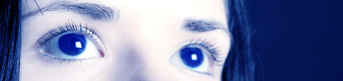 Eyes banner. Future business vision seen through blue eyes banner Stock Image