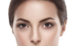 Eyes Beautiful woman face close up studio isolated on white Royalty Free Stock Images