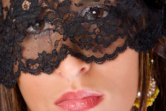 Eyes behind lace Royalty Free Stock Photography