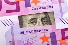 Eyes Benjamin Franklin and euros Stock Photo