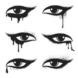 Eyes with black drops and smudges. Eyes with black drops and smudges vector Royalty Free Stock Photos