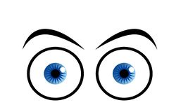 Eyes in blue on white background. Eyes blue white background see look shocked cartoon style sight optical creative drawing woman human logo sign model symbol vector illustration