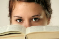 Eyes and book Stock Photo