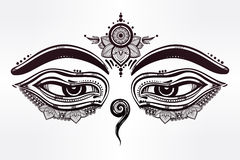 Eyes of Buddha, wisdom symbol illustration. Stock Image