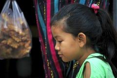 The eyes of the Burmese girl stock photos