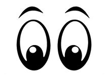 Eyes bw. Illustration of black and white cartoon eyes Royalty Free Stock Images