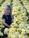 little blond girl in day lily field Stock Photography