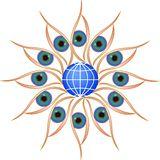 Eyes Circle Round with Globe Royalty Free Stock Image