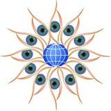 Eyes Circle Round with Globe royalty free stock image