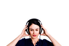 Eyes Closed Girl With Earphones Royalty Free Stock Photo